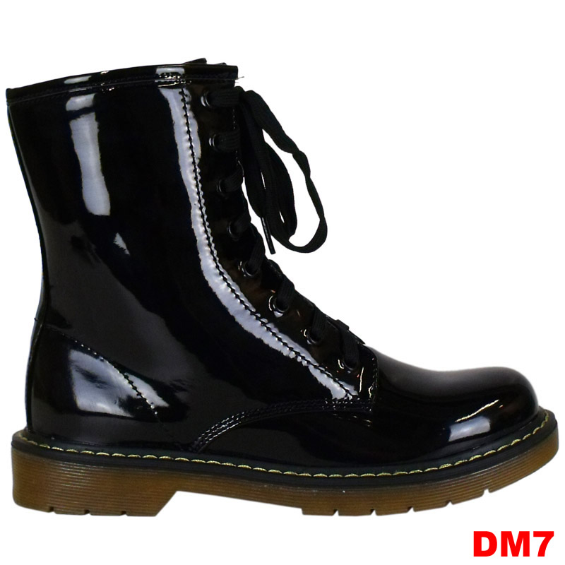 DM7-WOMENS-LADIES-BLACK-PATENT-LACE-UP-ZIP-UP-FUNKY-COMBAT-ANKLE-BOOTS-SHOES-3-8