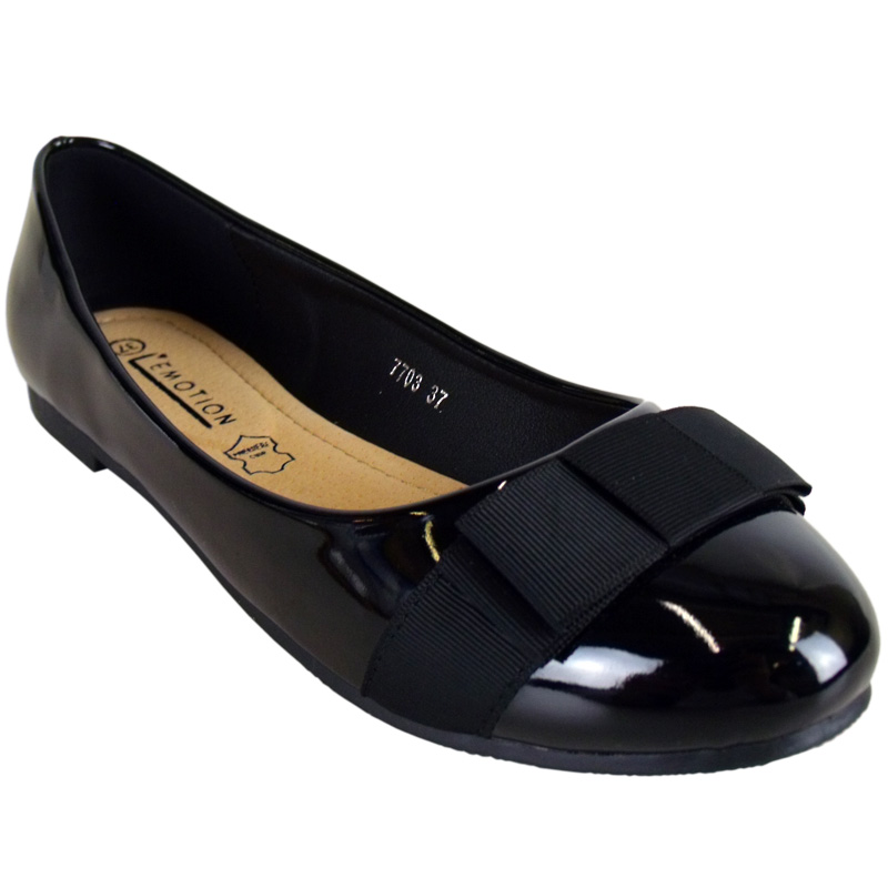 f3d womens black patent flat ballet pumps bow