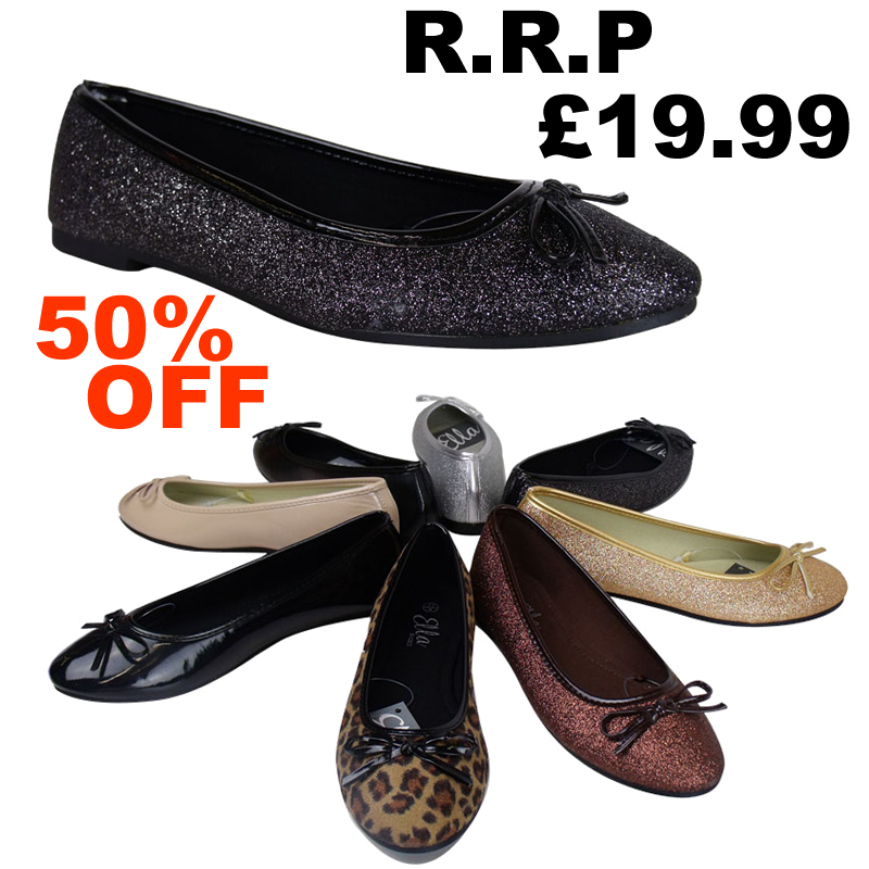 F3P Ladies Classic Gold Glitter Flat Comfortable Smart Work Office Shoes Size