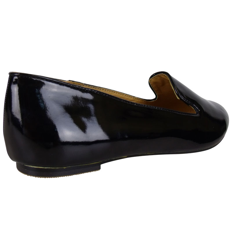 f4a black patent loafers flat smart womens