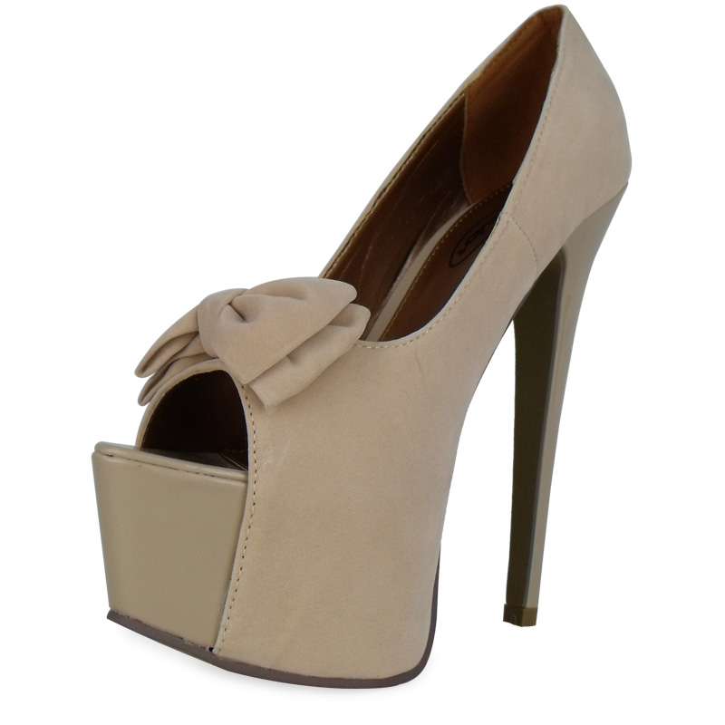 P1J Ladies Cream Suede High Heel Platform Peeptoe Bow ... Cream Heels With Bow