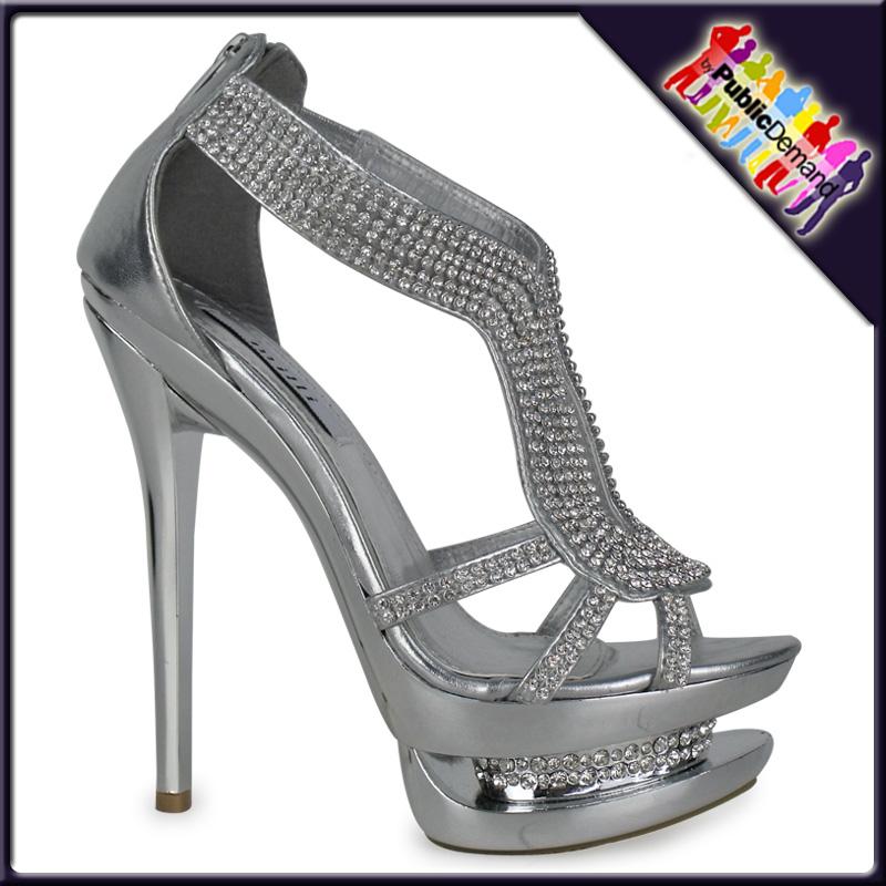 damen sandalen riemen strass high heels plateau gold. Black Bedroom Furniture Sets. Home Design Ideas
