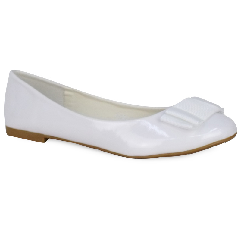 WOMENS WHITE PATENT FLAT BALLET PUMPS BOW GIRLS BALLERINA DOLLY SHOES