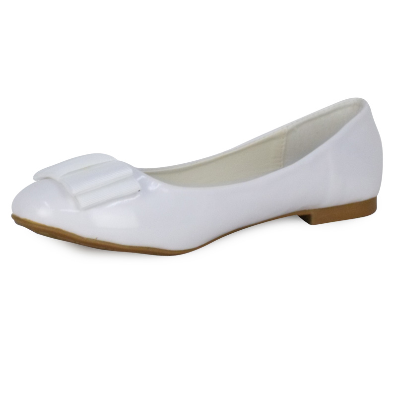 F3D WOMENS WHITE PATENT FLAT BALLET PUMPS BOW GIRLS BALLERINA DOLLY SHOES Size | EBay