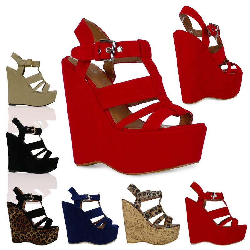 W5V Womens Strappy Very High Heel Wedges Platforms Womens Ankle Shoes Sandals