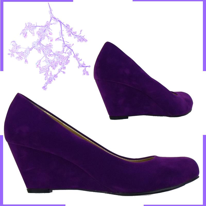 w2g purple suede mid height wedge heel smart