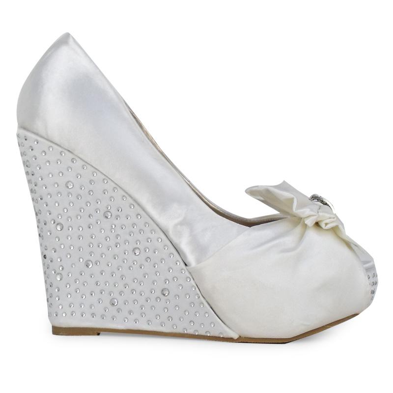 t5b white satin high heels platform wedges diamante