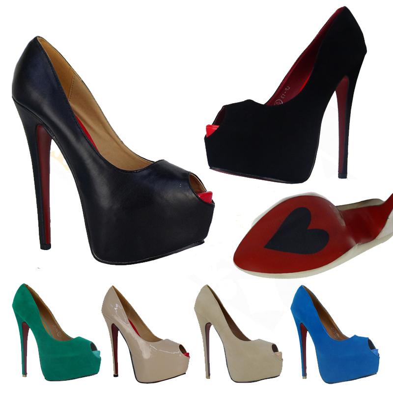 damen schuhe high heels peeptoes pumps plateau rote sohle 36 37 38 39 40 41 p1x ebay. Black Bedroom Furniture Sets. Home Design Ideas