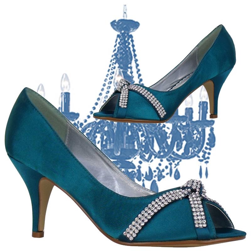 L3A Ladies Teal Satin Peeptoe Diamante Womens Low Heel