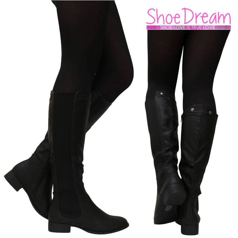 Ladies Black Matte Knee Height Boots Casual Stylish Womens Shoes Size