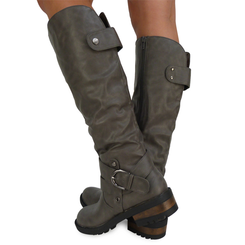 B1K New Ladies Grey Casual Knee-Height Biker Boots Zip Buckle ...