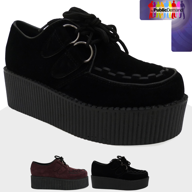 c3n womens high platform creepers lace up