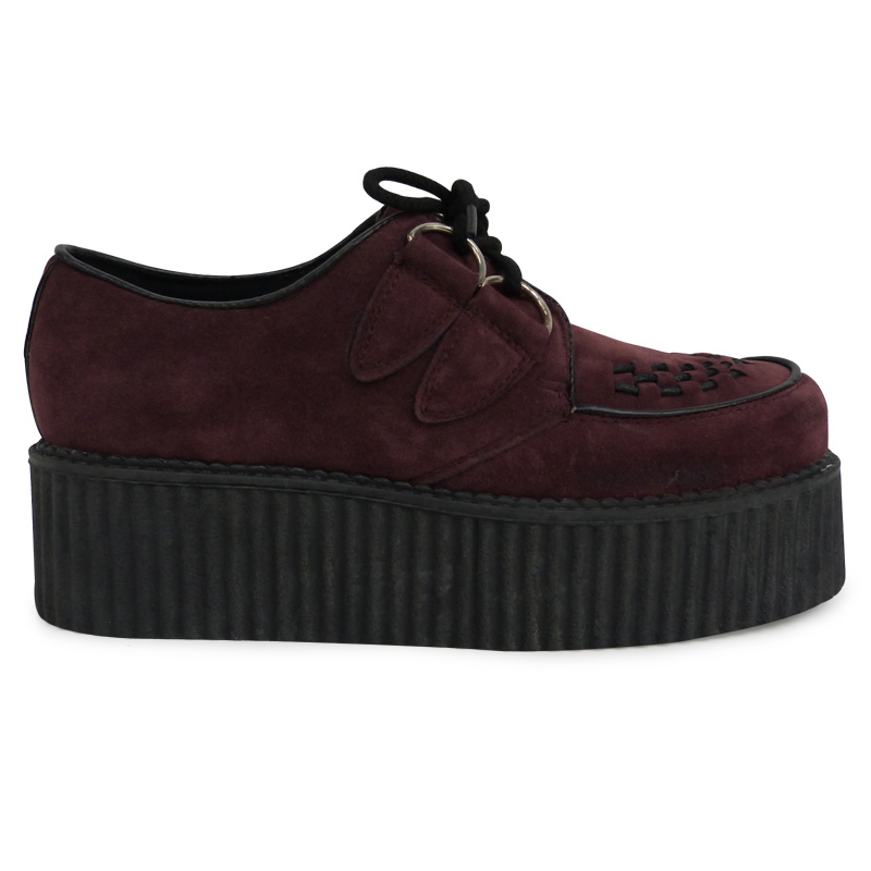 Wine Suede Lace Up Casual Creepers Stunning Comfortable Womens Shoes