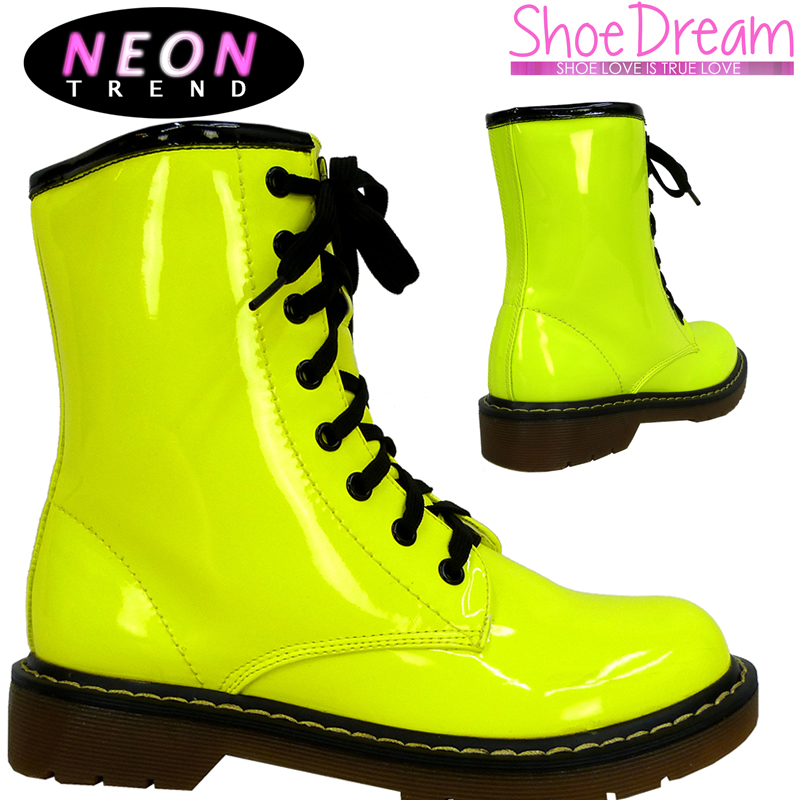 Model Yellow Combat Boots Men Womens Yellow Meatal Studded