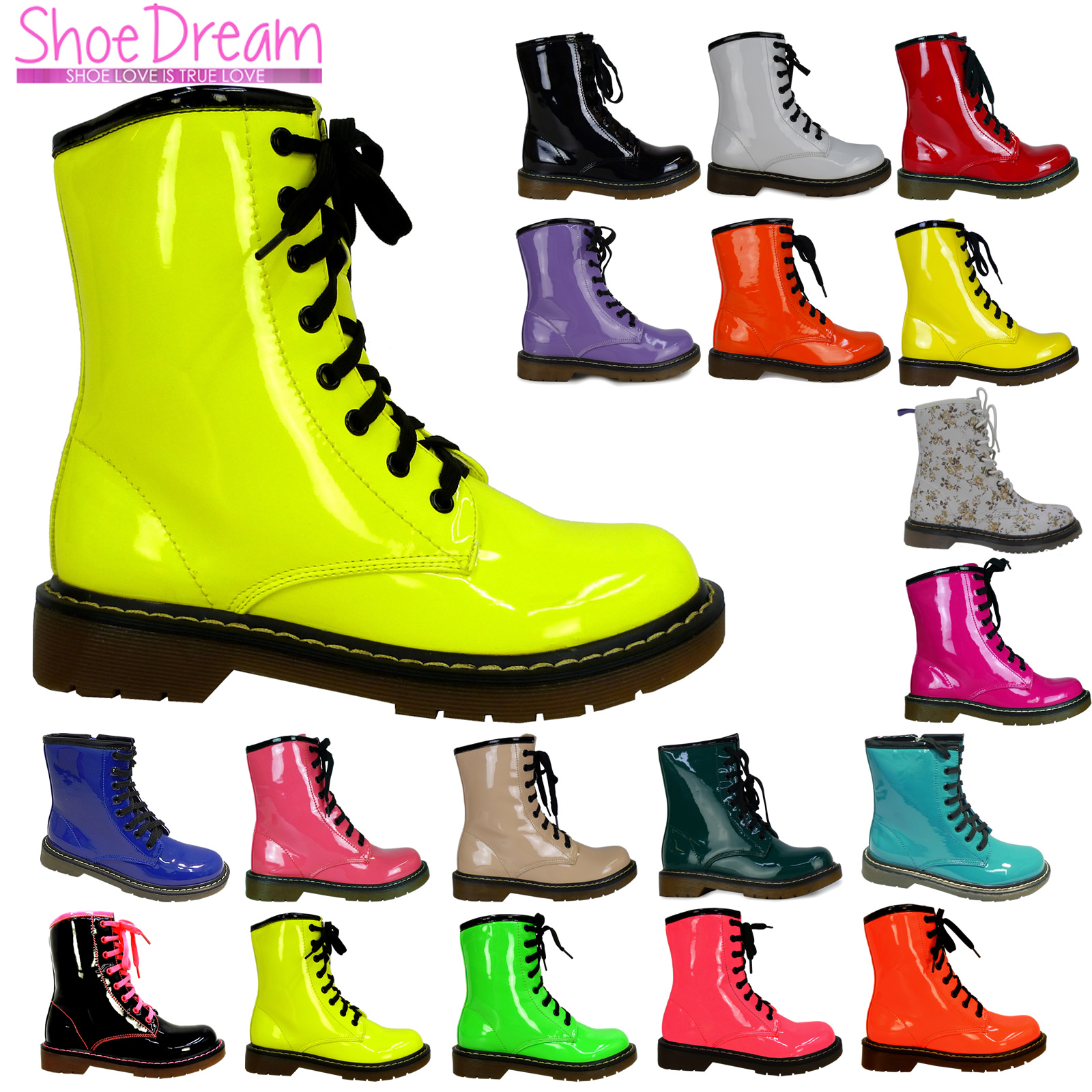 Original Women39s Shoes Leatherette Chunky Heel Combat Boots  Round Toe Boots