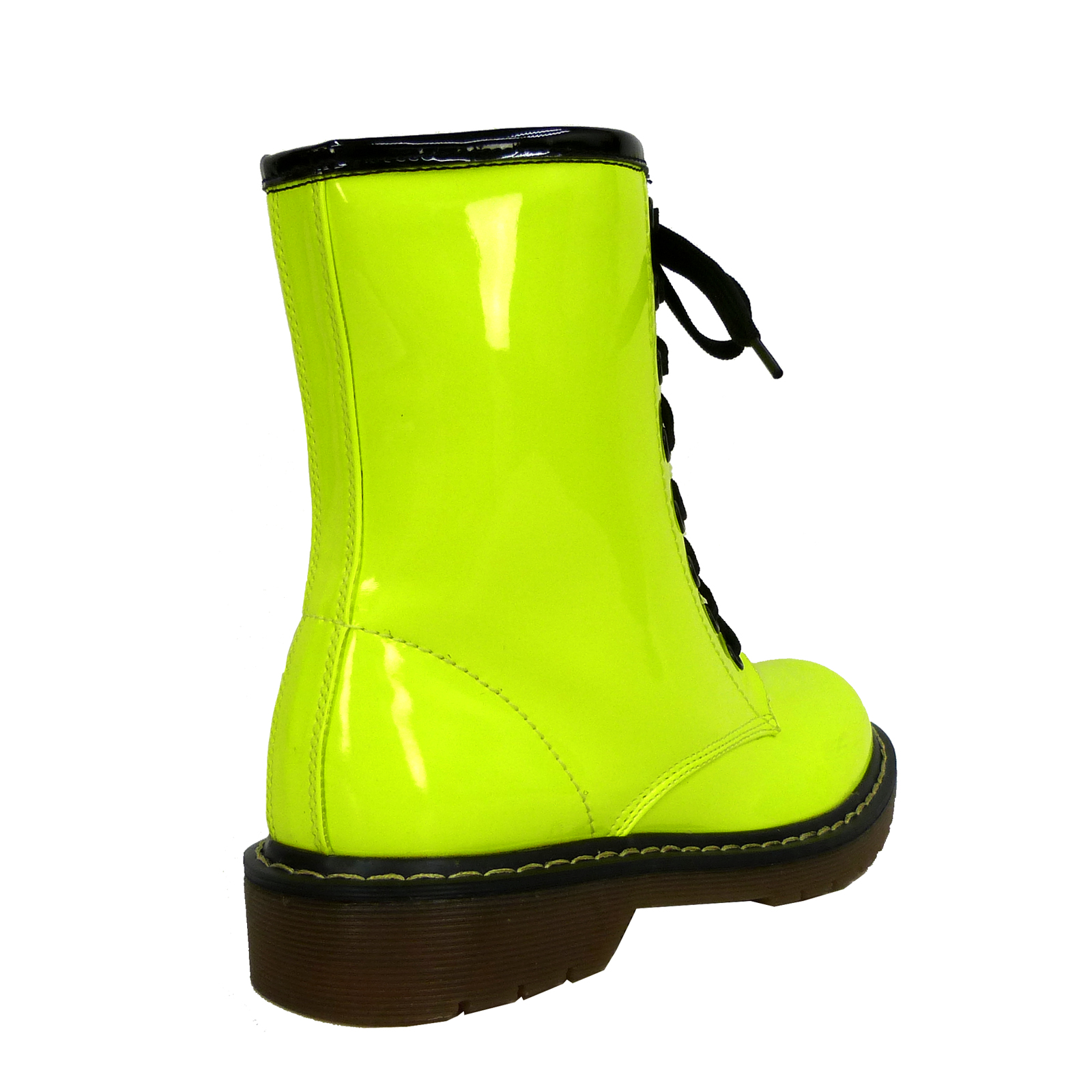 Creative NEW QUPID Women Lace Up Combat Military Mid Calf Boots Sz Neon Yellow