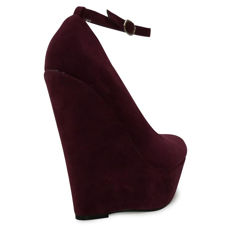 w5y burgundy suede high heel platform wedge ankle