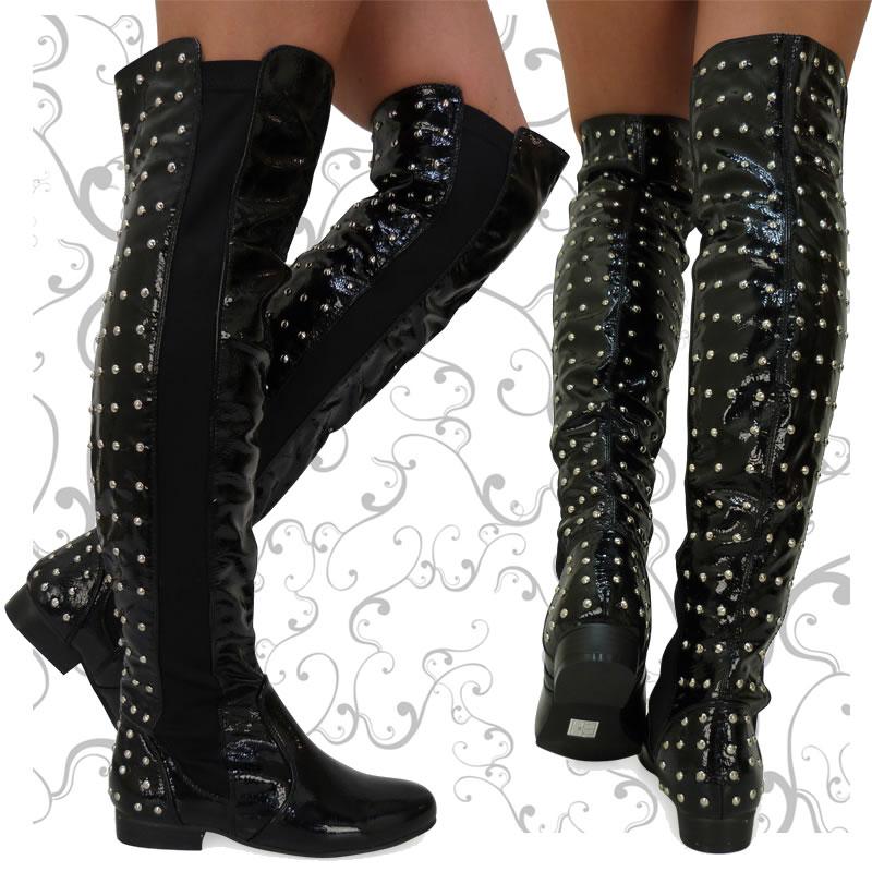 r1z black patent flat pull on knee studded