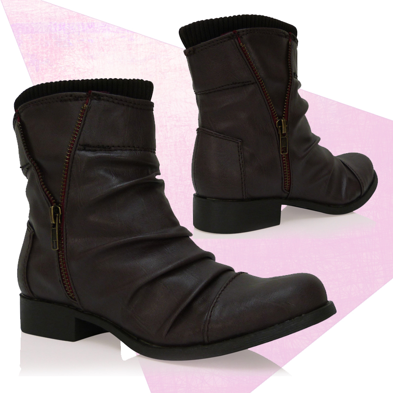 B1R Ladies Brown Matte Flat Ankle Boots Pull On Zip Detailing Womens    Brown Flat Ankle Boots