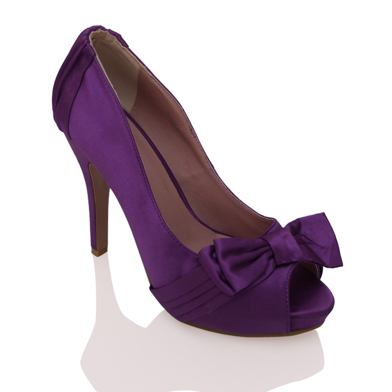 T64 Purple Satin High Heel Platform Peeptoe Party Bow Evening