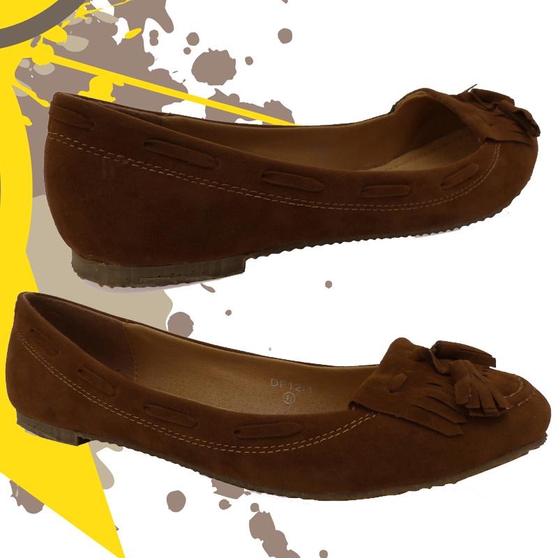 e9e brown suede slip on fringe tassel loafers