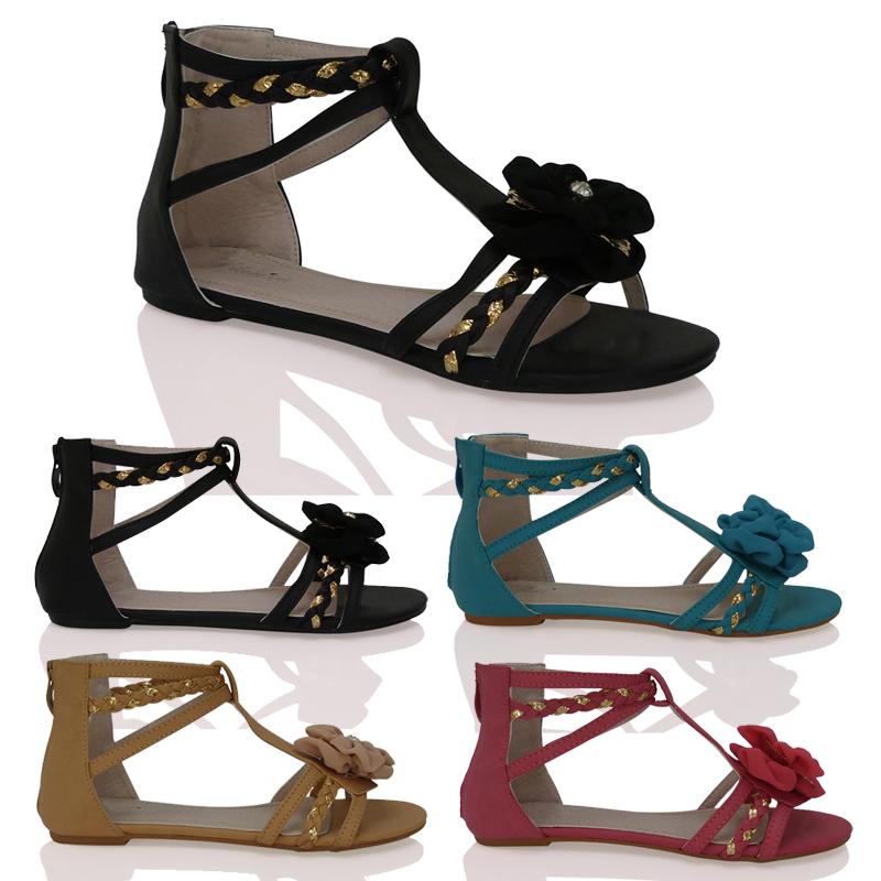 sandalen damen flach riemen sommer offen gladiator stil rei verschluss ebay. Black Bedroom Furniture Sets. Home Design Ideas