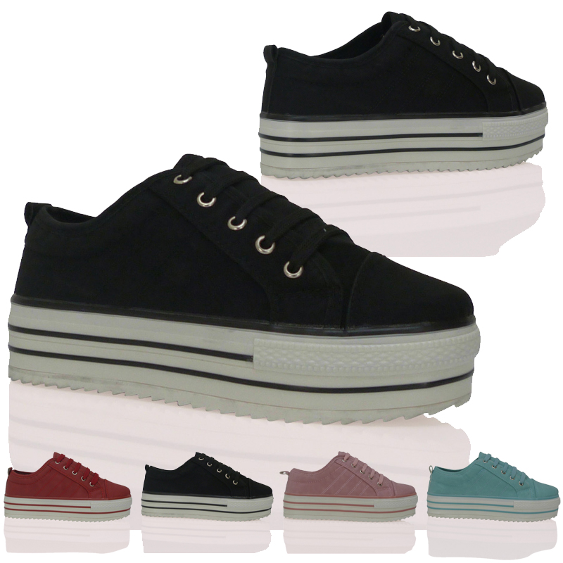 turnschuhe sneaker plateau schuhe damen geschn rt punk funk eu 37 41 ebay. Black Bedroom Furniture Sets. Home Design Ideas