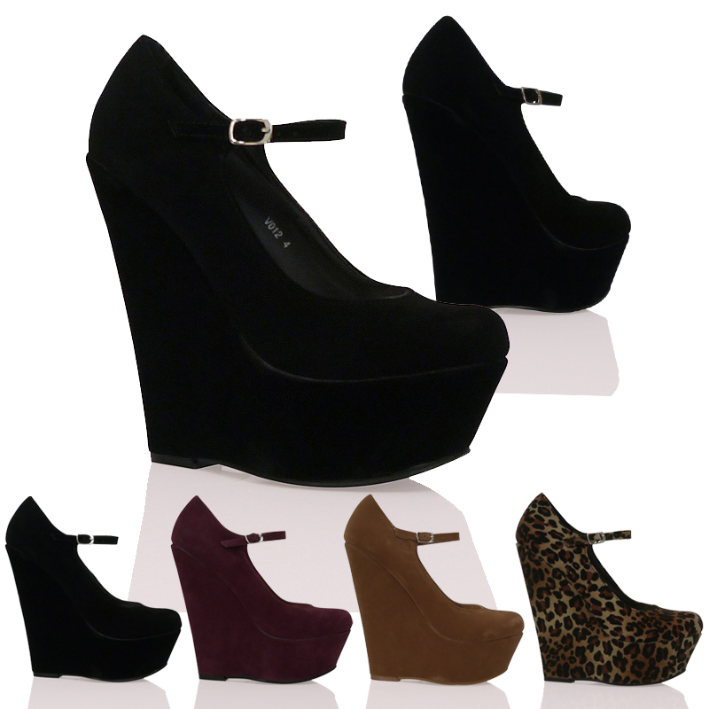 pumps damen high heel keilabsatz wedge plateau mary jane schuhe ebay. Black Bedroom Furniture Sets. Home Design Ideas