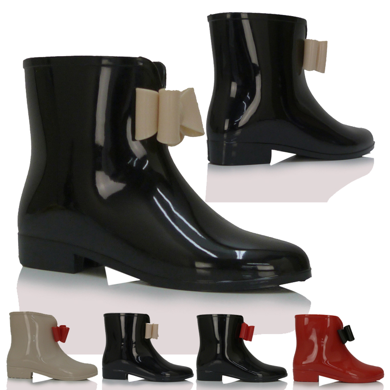 damen gummistiefel niedrig flacher absatz regen wasser stiefel ebay. Black Bedroom Furniture Sets. Home Design Ideas