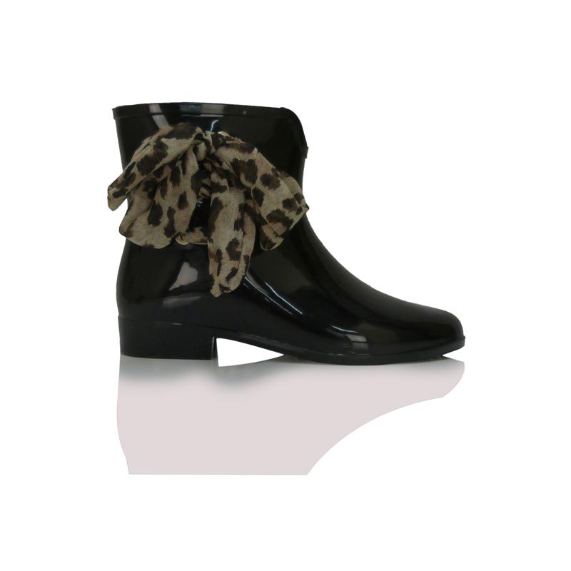 Black Wellies Waterproof Animal Print Bow Cute Womens Rain Shoes Size