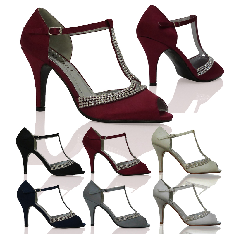 WOMENS LADIES WEDDING PROM PARTY EVENING MID-HEIGHT HEEL PEEPTOE SHOES SIZE