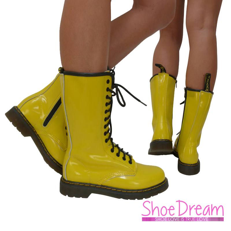 Unique NEW Womens High Top Military Combat Boots Yellow Fashion Shoes NWT Sz
