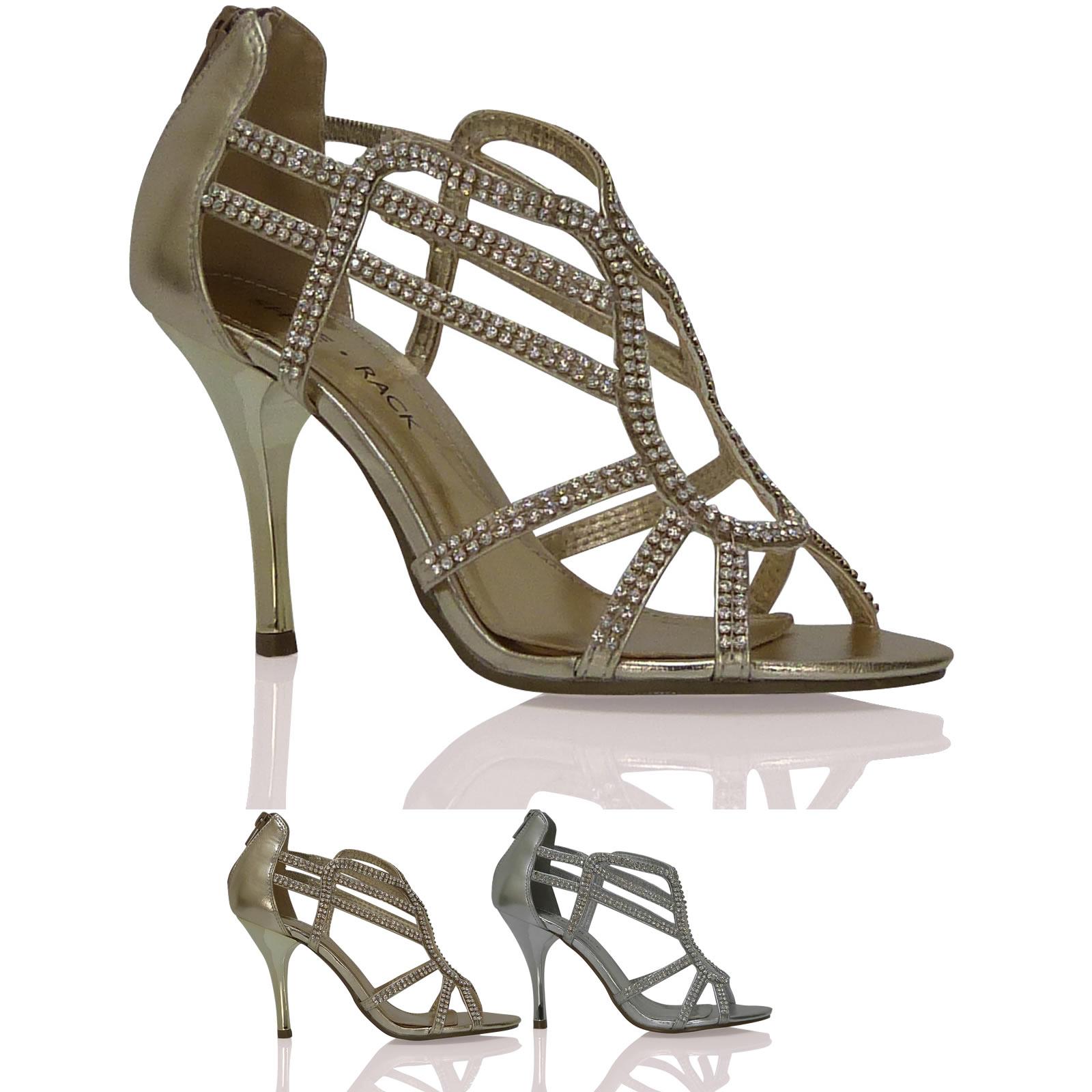 damen sandalen riemchen party hoher absatz strass k fig rei verschluss schuhe ebay. Black Bedroom Furniture Sets. Home Design Ideas