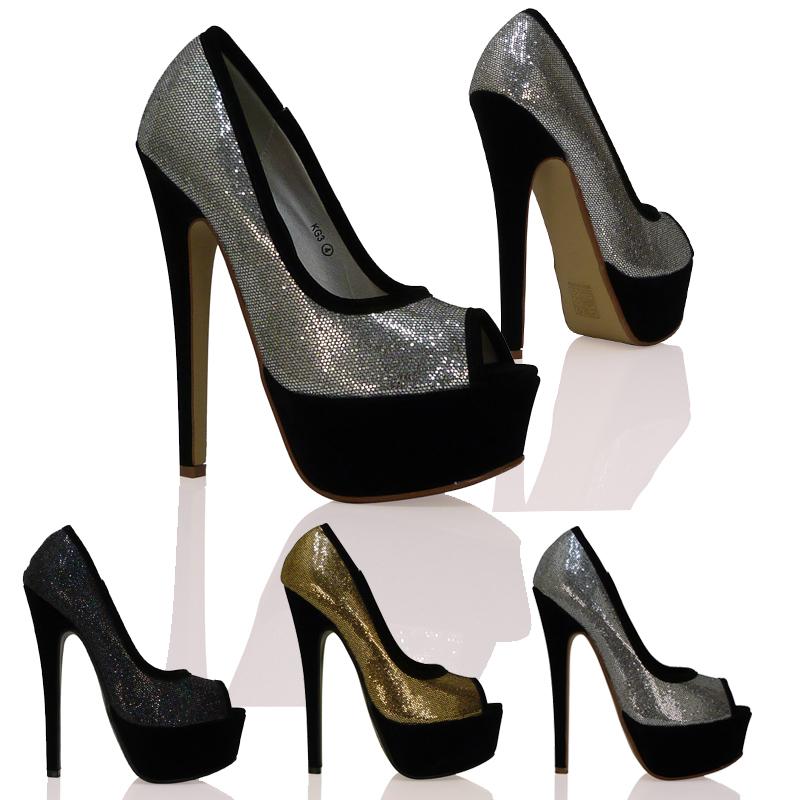 chaussure femme haut talon compense bout ouvert type escarpin ebay. Black Bedroom Furniture Sets. Home Design Ideas
