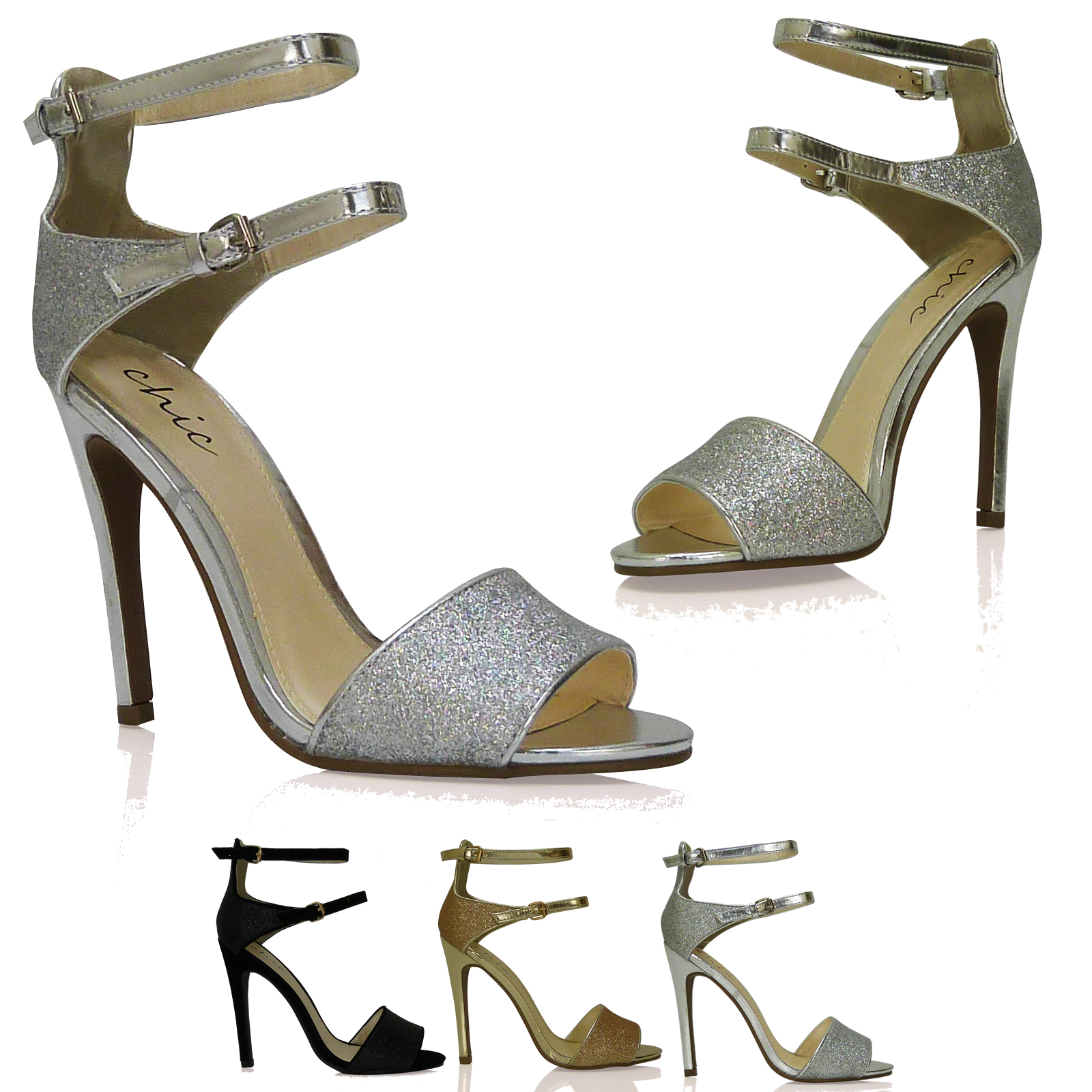pumps sandalen high heels riemchen zehenfrei schwarz gold silber eu 36 41 ebay. Black Bedroom Furniture Sets. Home Design Ideas