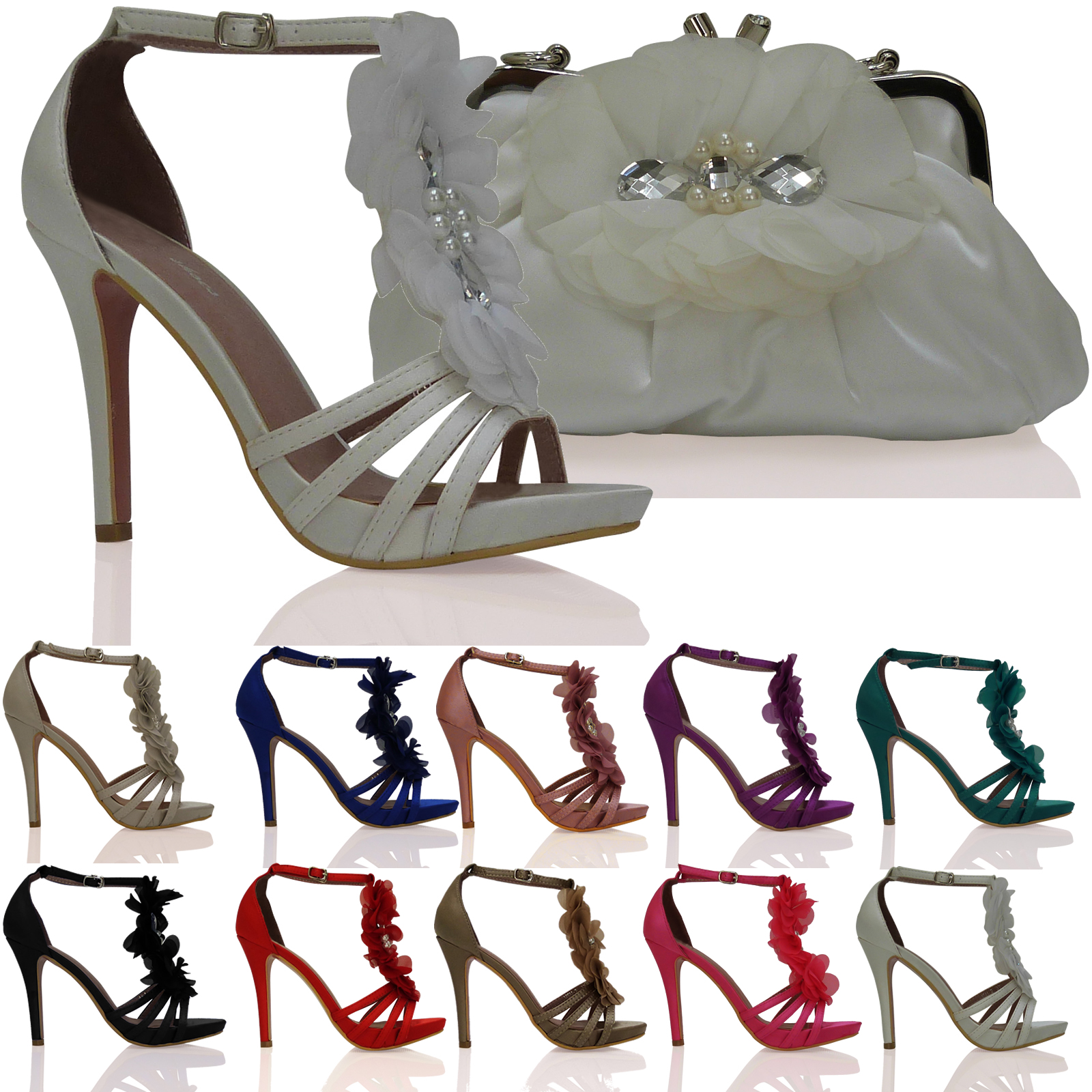 NEW WOMENS LADIES WEDDING PROM PARTY EVENING HIGH HEEL STRAPPY SHOES PUMP SIZE