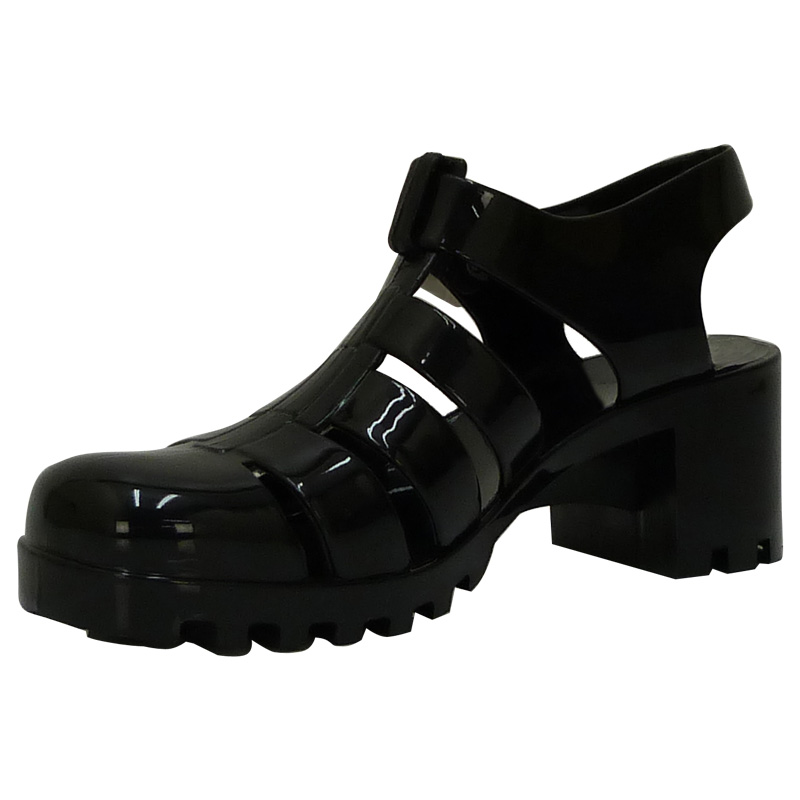 h3a black jelly jellies mid heel girly