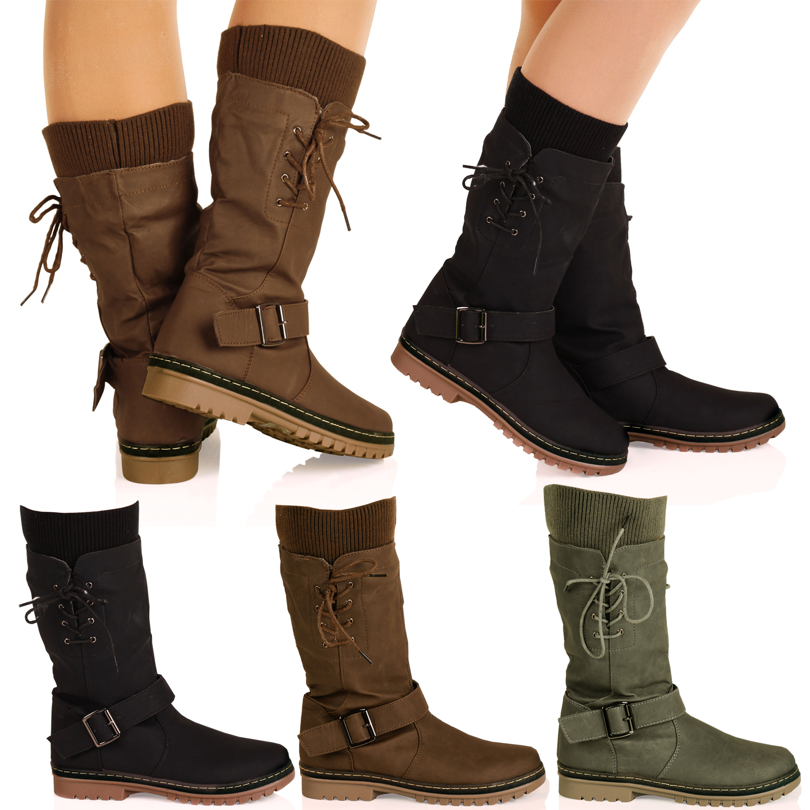 d6z womens mid calf pull on lace up sock detail