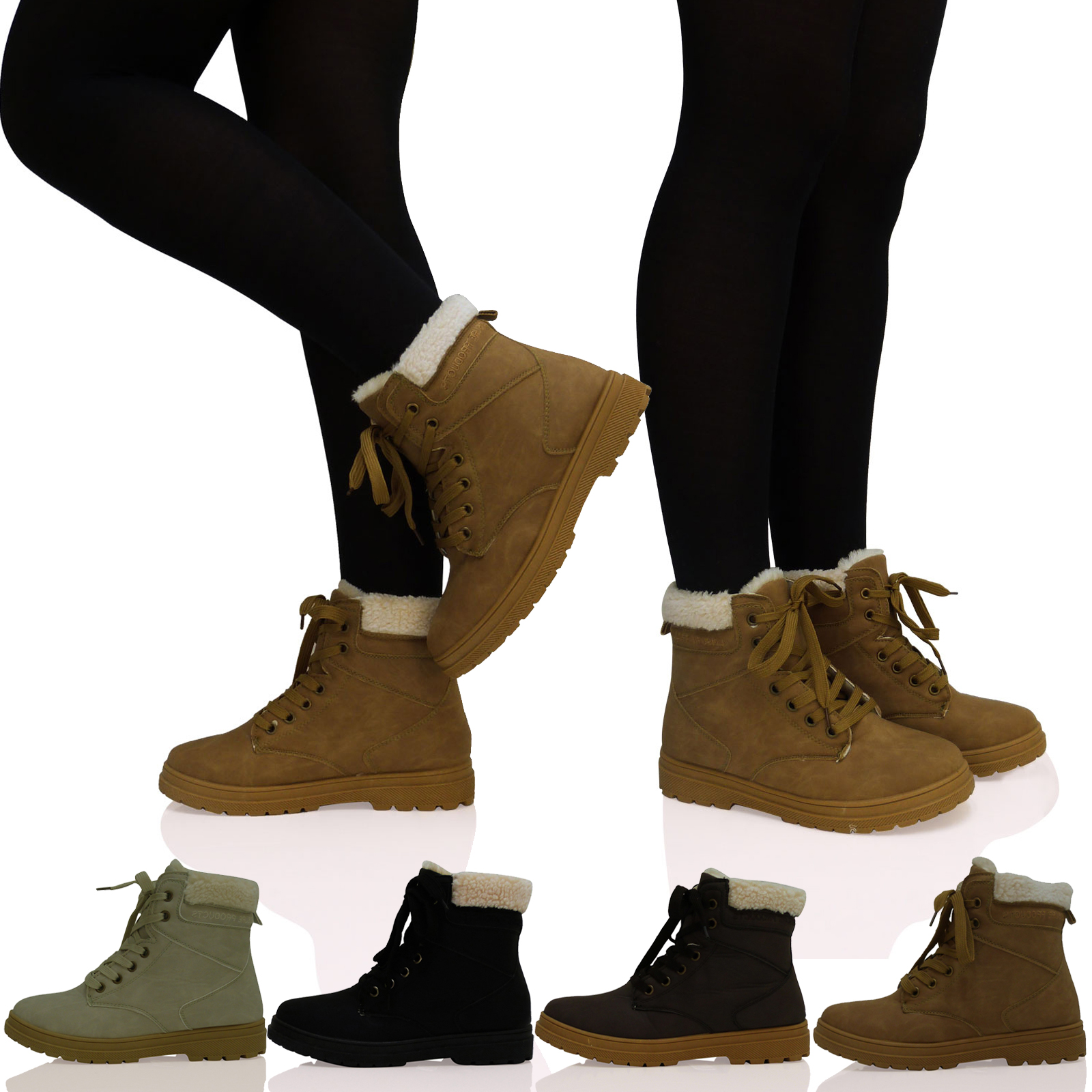 LADIES WOMENS GIRLS LACE UP FUR LINED WINTER ANKLE GRIP SOLE BOOTS ...