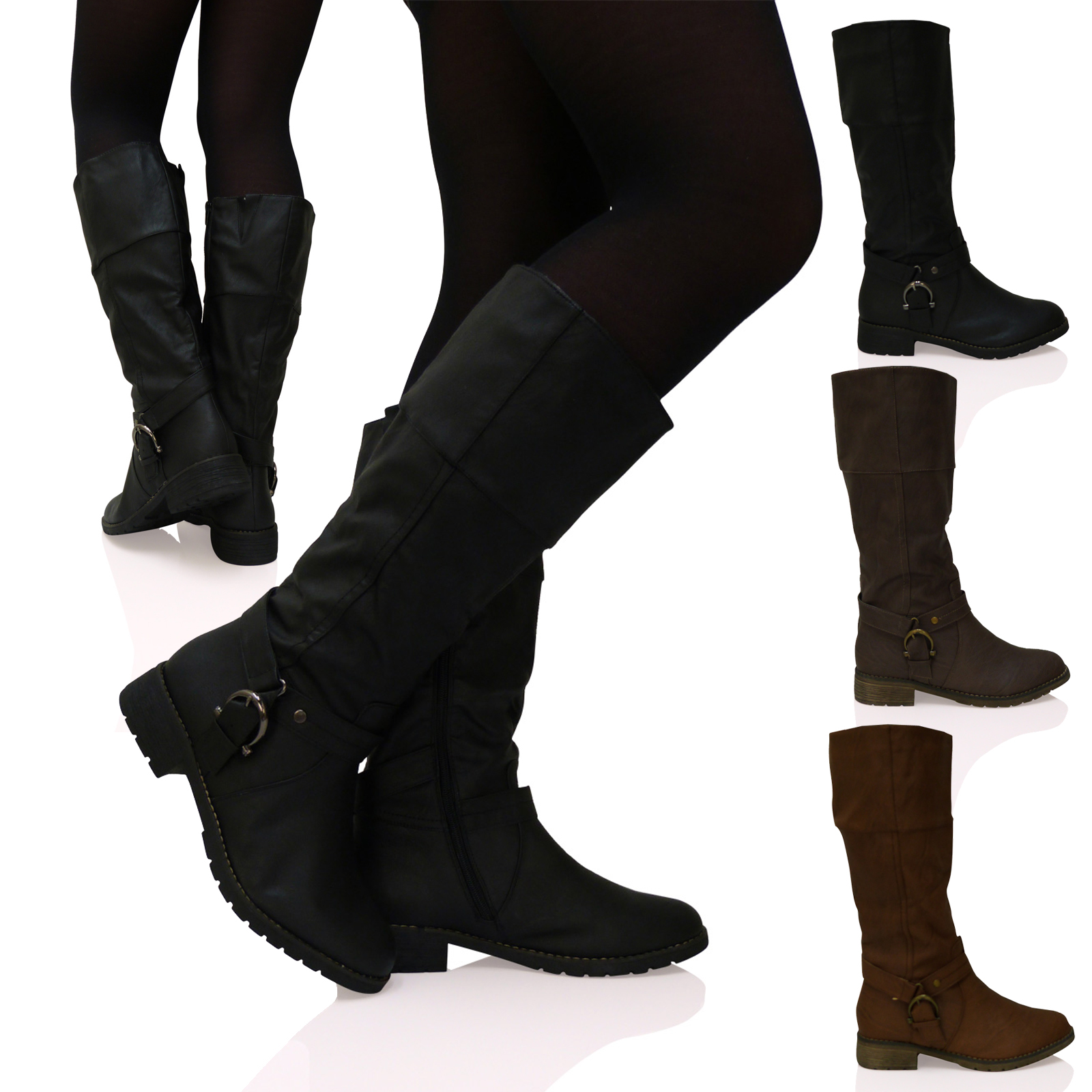New Ladies Womens Knee High BIGGER SIZES Flat Zip Up Riding Style Boots Shoes