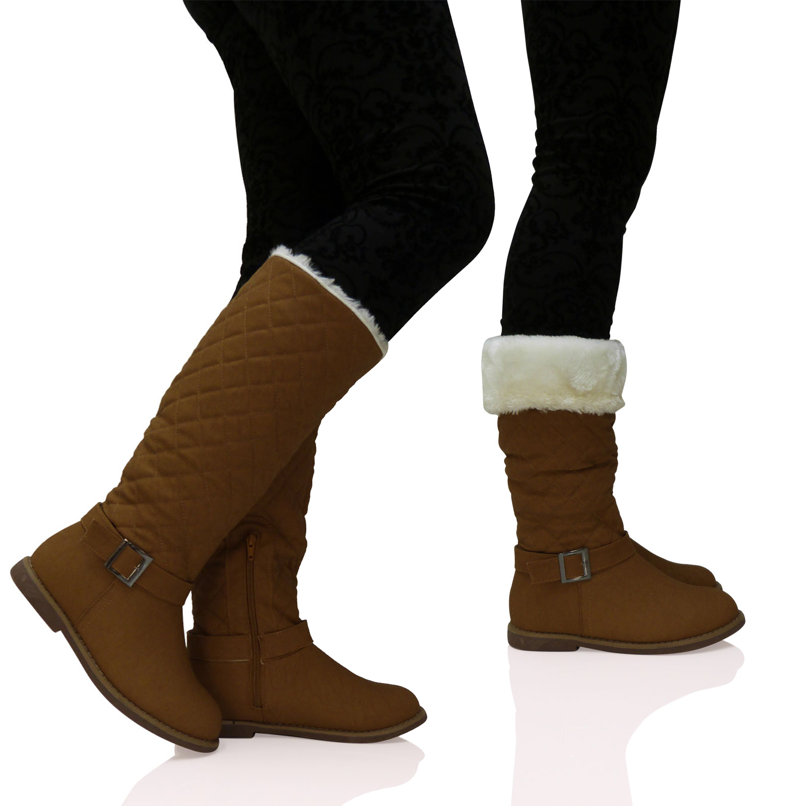 new womens quilted fur lined wide calf mid height
