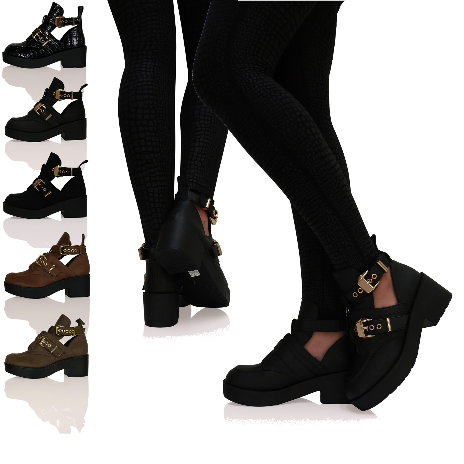 WOMENS LADIES BUCKLES CHUNKY CUT OUT CHELSEA ANKLE BOOTS SHOES GOLD TRIM BIKER