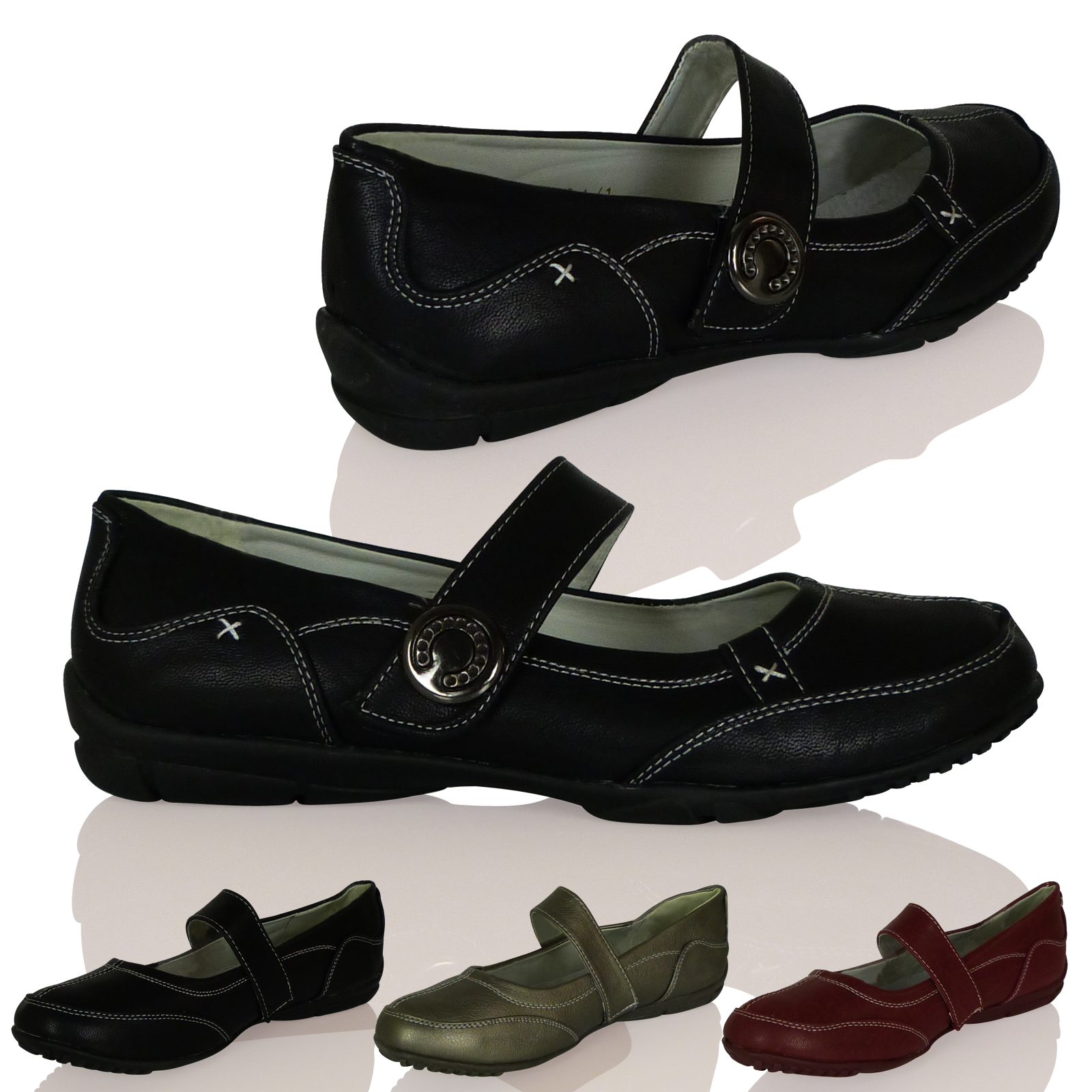 New Womens Ladies Ballerina Velcro Strap Slip On Thick Sole Stylish Shoe Size