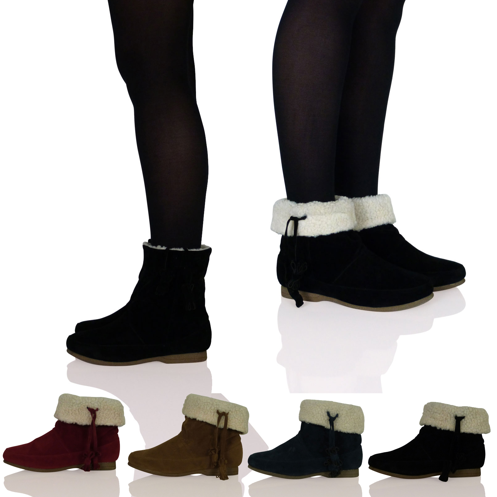 Original NEW Womens Shoes Slouch Ankle Boots Flat Comfort Booties Casual Round