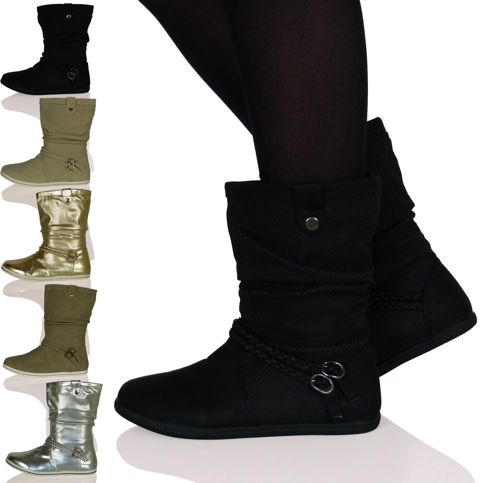 womens ankle boots shoes slouch plait pixie flats