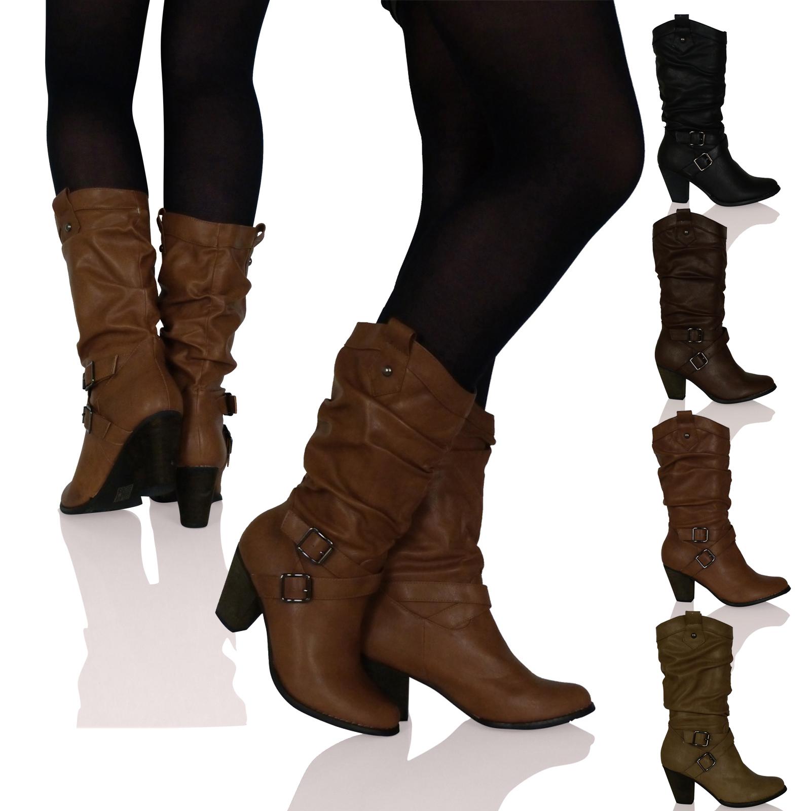 damen stiefel wadenhoch schnalle detail absatz hineinschl pfen boots neu ebay. Black Bedroom Furniture Sets. Home Design Ideas
