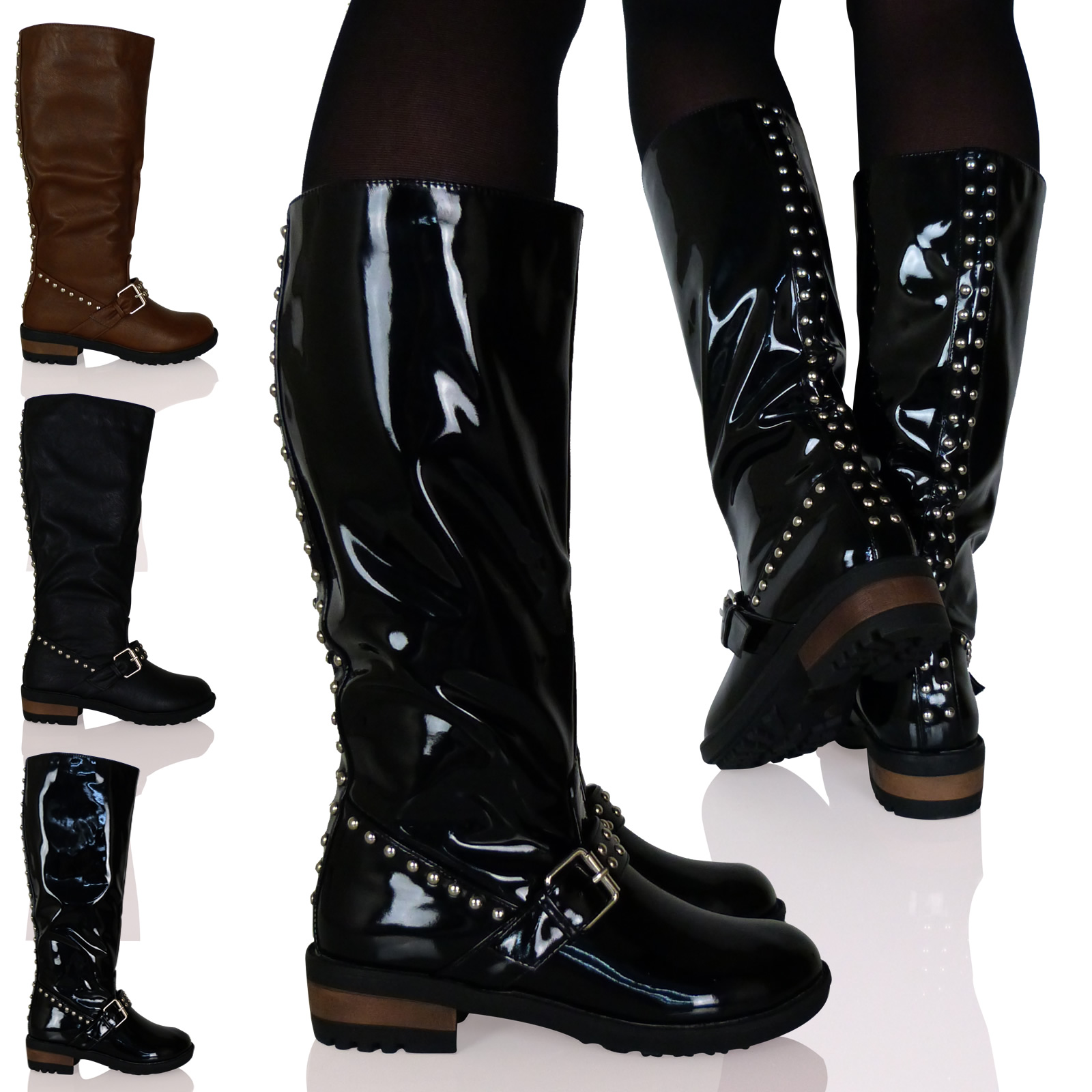 D8Z Womens Ladies Mid Calf Boots Stud Buckle Detail Low Heel Pull On Shoes Size