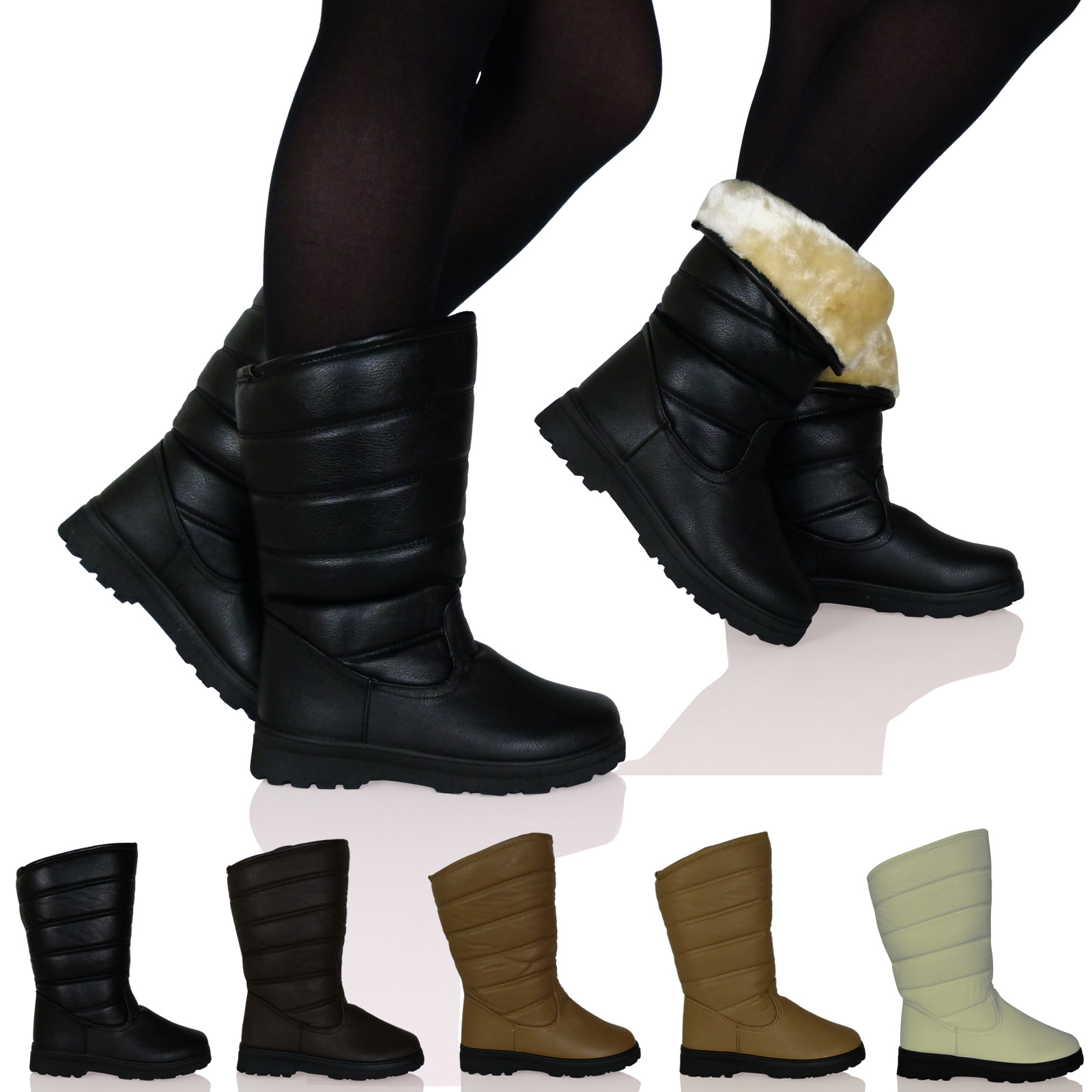 New Womens Ladies Thick Sole Winter Snow Boots Fully Fur Lined Shoes Size