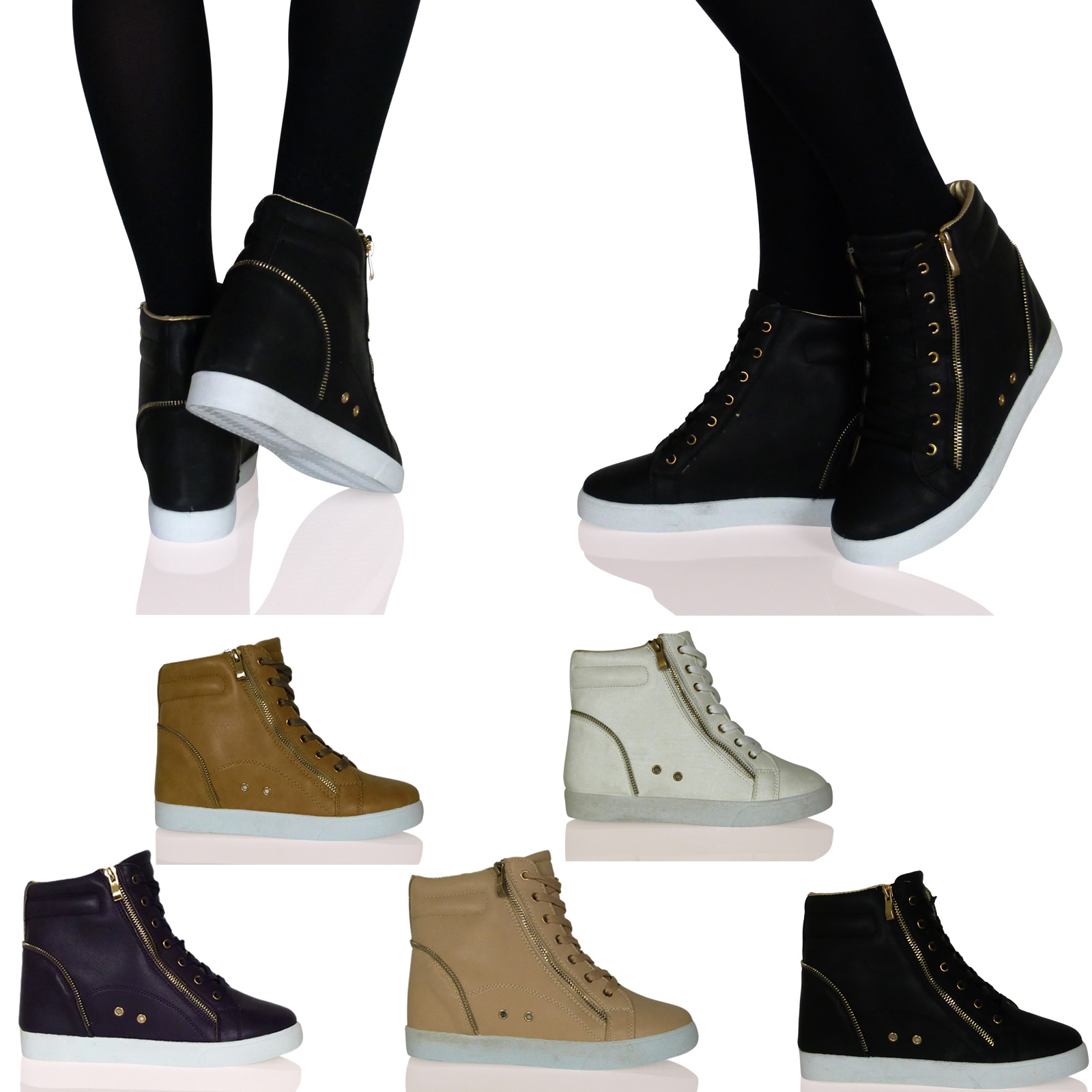 Z1L WOMENS LADIES FLATS SNEAKERS TRAINERS WEDGES CHUNKY ZIP UPS METALLIC SHOES