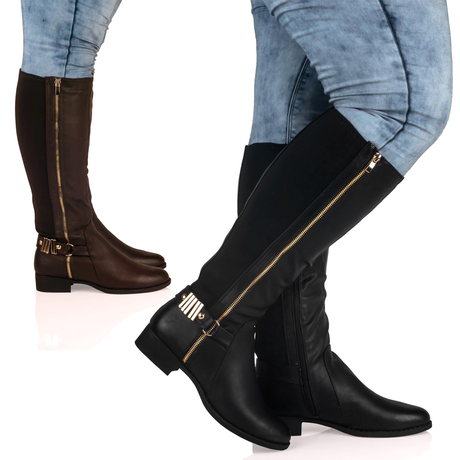 d8z knee high wide fit low block heel
